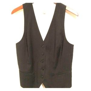 Pinstripe vest charcoal w buttons
